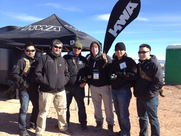KWA's Allen Lau greets MilSim Junkie.com's Arwin S. and Crew behind the berms!  One Nice Rig showed off KWA's finest training guns right on the firing line with the real-steel boys1